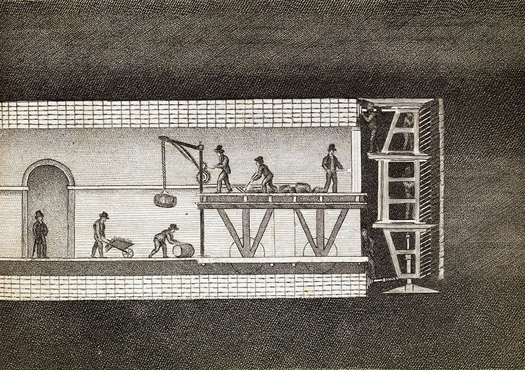 The Thames Tunnel, designed by the Brunels, under construction, illustration, 1828.