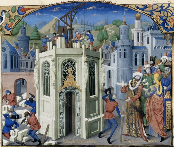 Sultan Omar initiates the reconstruction of the Temple of Jerusalem, from the History of the Conquest of Jerusalem by William of Tyre. French, 15th century.
