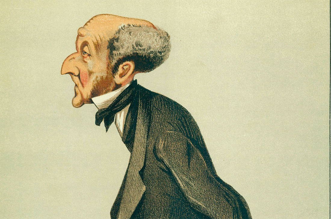 Caricature of John Stuart Mill, by 'Spy', Leslie Matthew Ward, in Vanity Fair, March 1873.