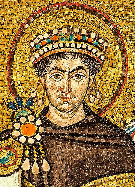 Last of the Latins: a sixth-century fresco of Justinian,  San Vitale, Ravenna.