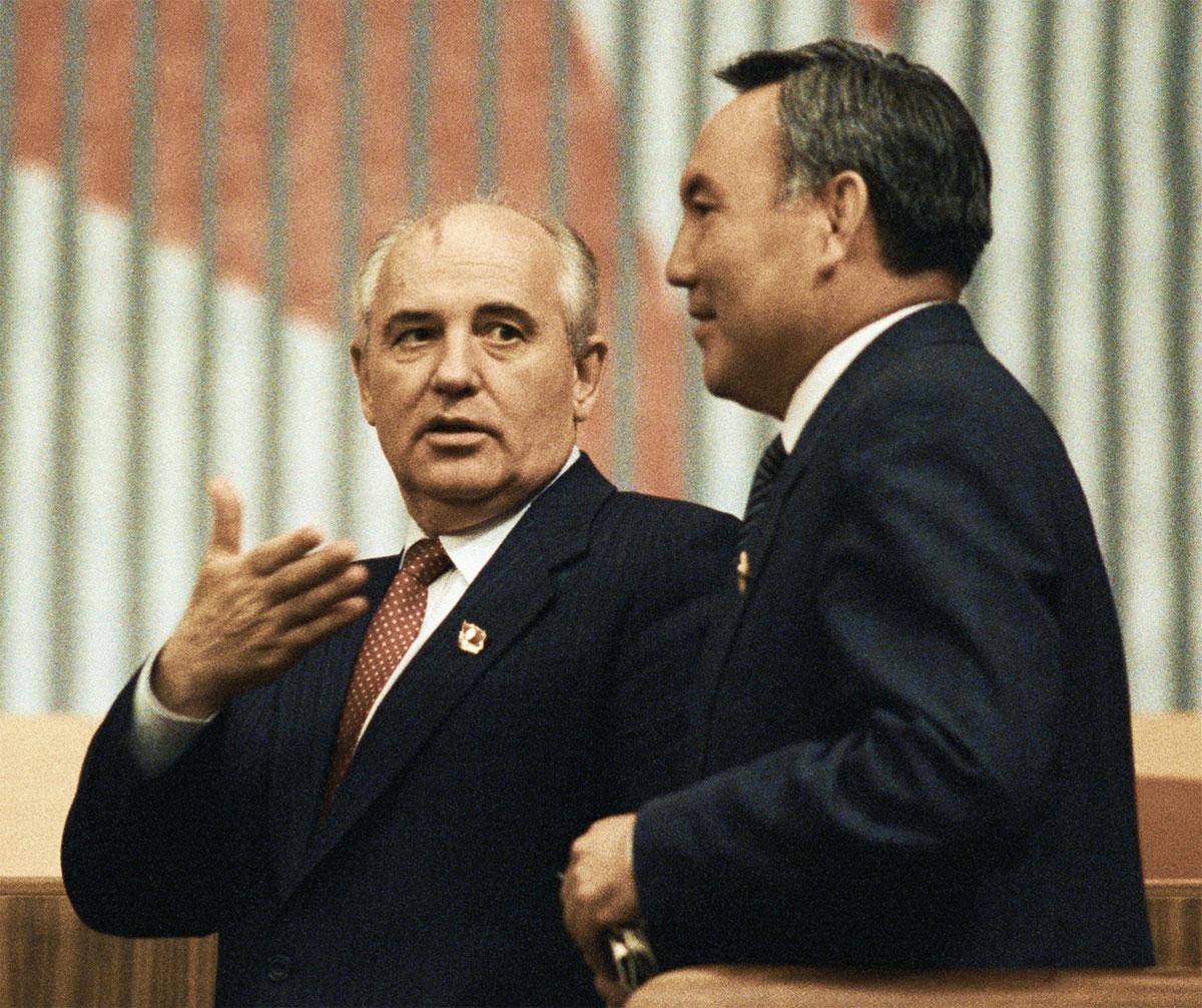Mikhail Gorbachev and Kazakh president Nursultan Nazarbayev.