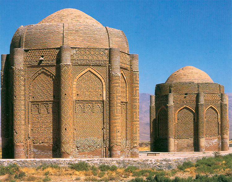 The Kharāghān twin towers, built in 1053 in Iran, as the burial place of Seljuq princes.