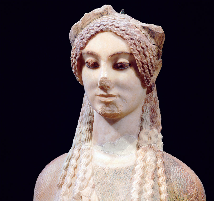 Kore 674, Archaic period marble statue from the Acropolis, Athens.