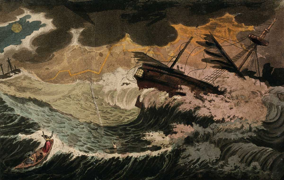 A ship caught in a storm; three people in a lifeboat in the foreground. Aquatint, ca. 1850. Wellcome Collection.
