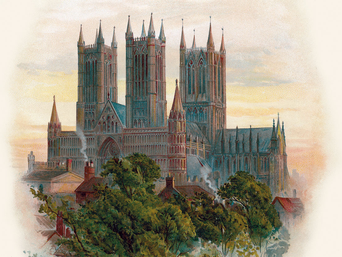 City on the hill: the south-west face of Lincoln Cathedral. Illustration by Arthur Wilde Parsons, 1888.