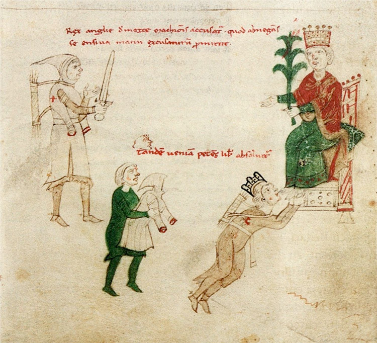 Depiction of Richard being pardoned by Emperor Henry VI, c. 1196