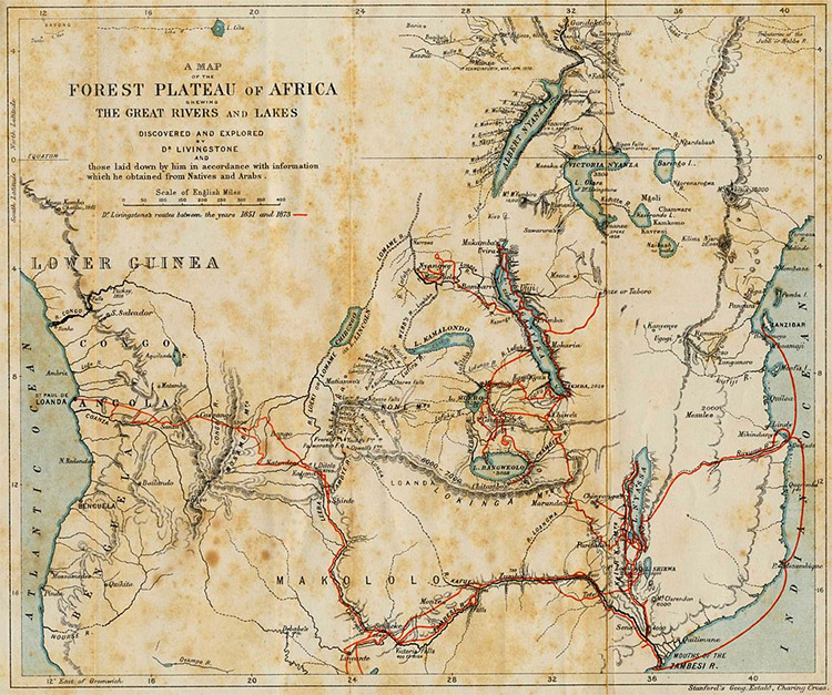 The Journeys Of David Livingstone In Africa (marked In Red) Between 1851  And 1873
