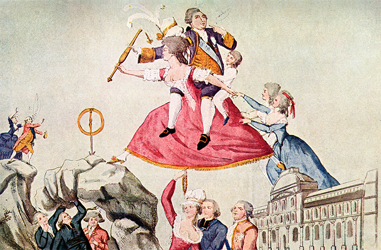 Flight of fancy: Louis XVI and his family attempt to flee Paris. French caricature, 1792