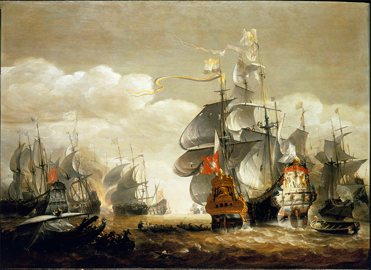 The Battle of Lowestoft, June 13, 1665, showing HMS Royal Charles and the Eendracht.