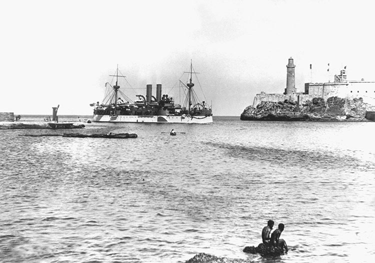 USS Maine entering Havana harbour, January 1898