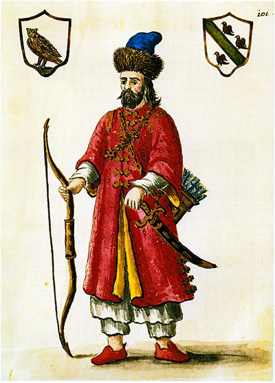 Marco Polo wearing a Tatar outfit, date of print unknown.