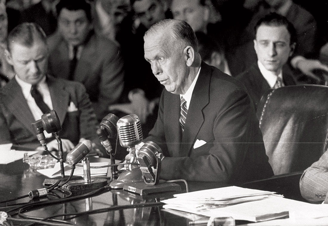 George Marshall defends his European Recovery Programme before the Senate.