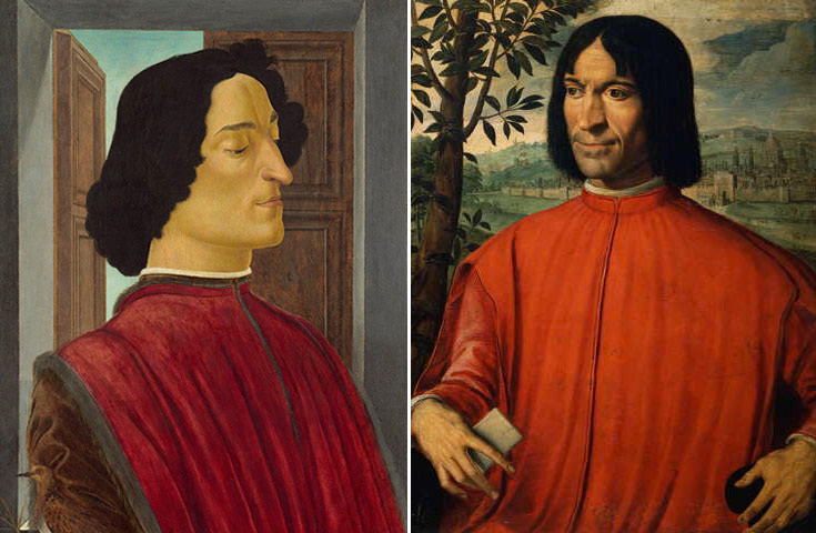 Giuliano de' Medici (left) and Lorenzo de' Medici. Portraits by Botticelli and an unknown artist