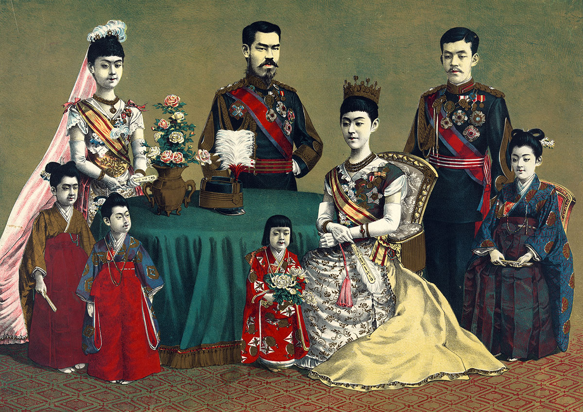 Meiji, Emperor of Japan, and the imperial family, woodcut, late 19th century. (Getty Images)