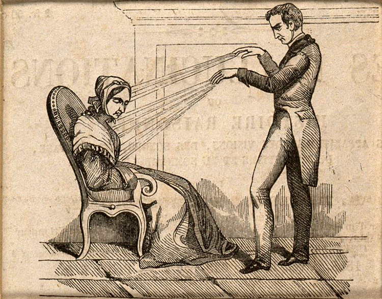 A practitioner of Mesmerism using animal magnetism