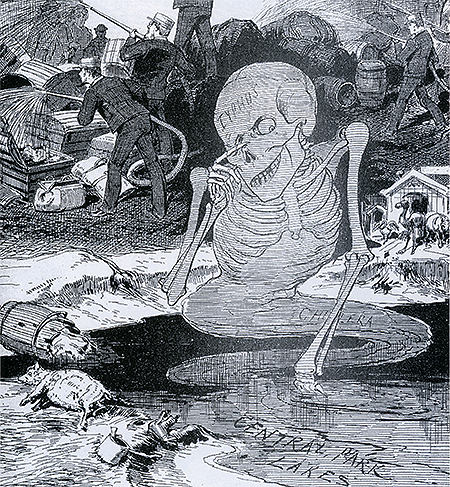 This 1885 cartoon warns of the miasma of diseases emerging from the unhealthy lakes of New York's Central Park. Range Pictures.