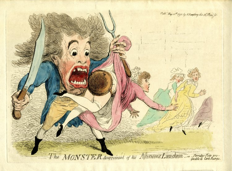 'The Monster disappointed of his Afternoon Luncheon, or Porridge Potts preferable to Cork Rumps': a bawdy cartoon published at the height of the monster mania