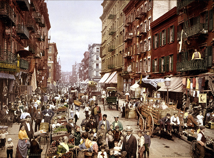 Mulberry Street, on the Lower East Side, circa 1900