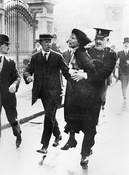 Emmeline Pankhurst is arrested by police outside Buckingham Palace while trying to present a petition to George V in May 1914