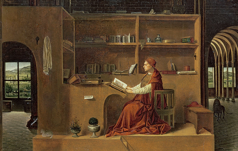 Man in red: St Jerome in his Study, Antonello da Messina, c.1475.