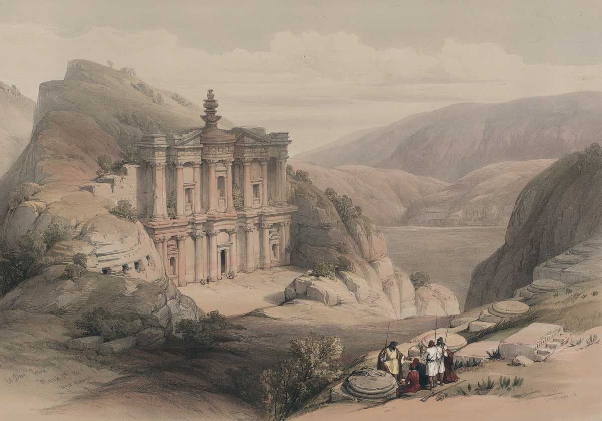 El Deir Petra, 8 March 1839, David Roberts. Library of Congress.