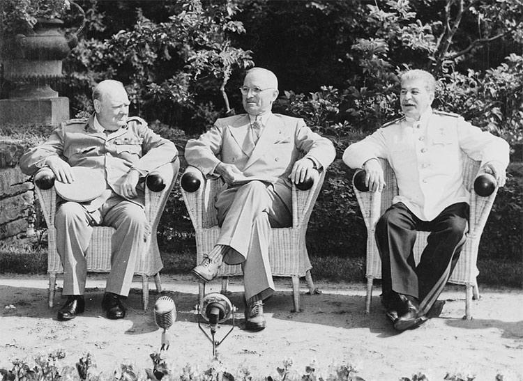 Winston Churchill, Harry S. Truman and Joseph Stalin at the Potsdam Conference, 1945.