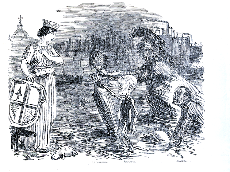1858 Punch cartoon 'Father Thames introducing his offspring to the Fair City of London' - an acid comment on contemporary views that foul surroundings breed foul diseases.