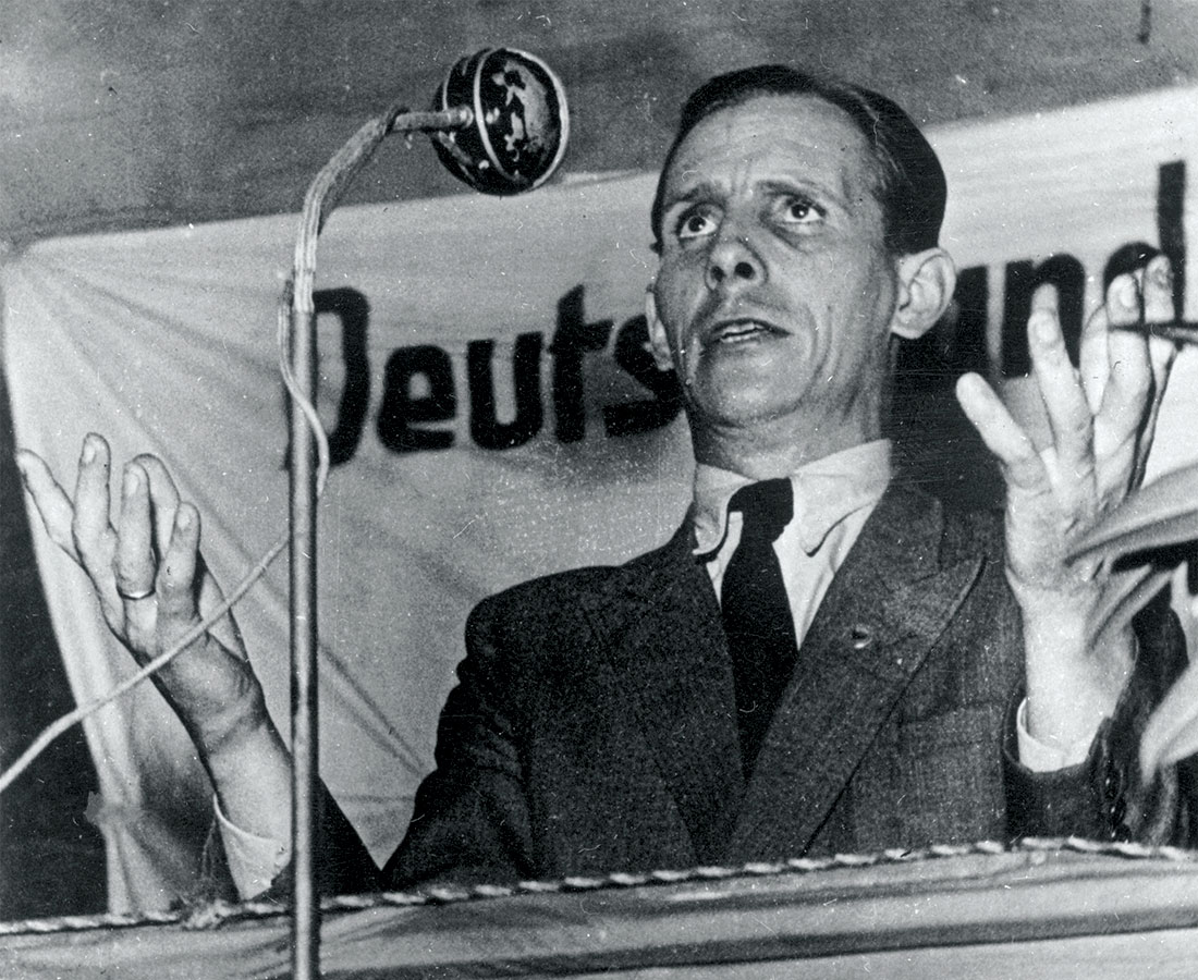 Resurgence: Ernst Remer, leader of the Socialist Reich Party (SRP), addresses a meeting, c.1951.