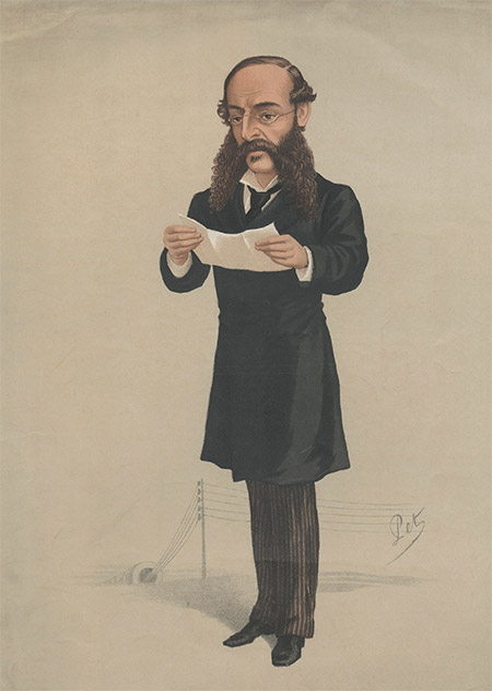 News agent: Reuter, caricatured  by Pet, 1877.