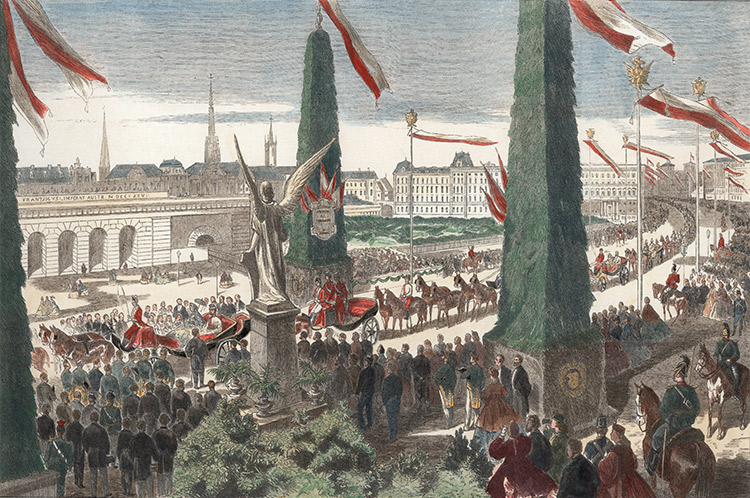 The opening of the Ringstrasse, illustration published in Leipzig, 1865.