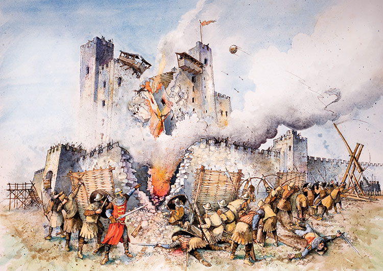 Rochester 1215, illustration by John Cann. Courtesy of Medway Council