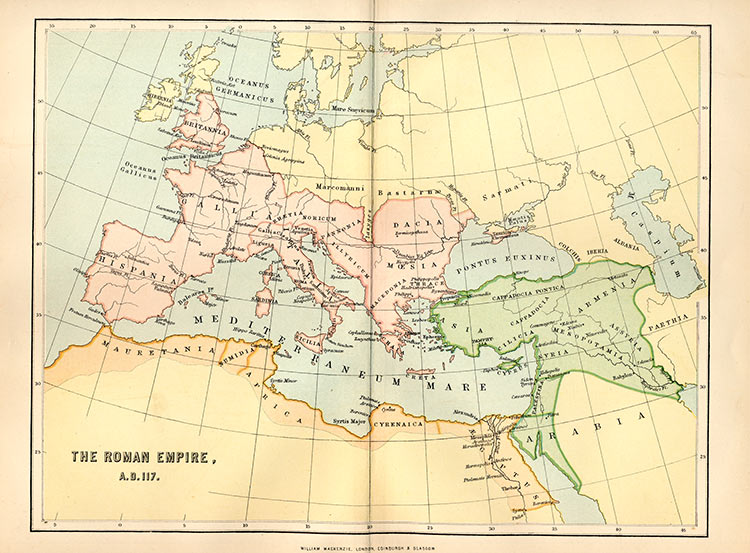 The Roman Empire in AD 117, 19th-century map.