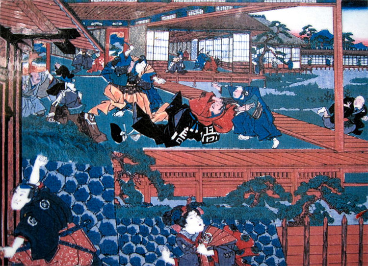 Ukiyo-e che rappresenta l'assalto di Asano Naganori a Kira Yoshinaka's assault on Kira Yoshinaka
