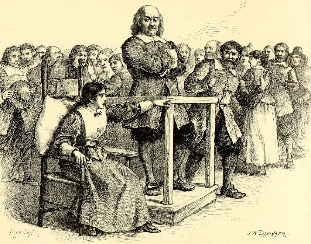 Illustration of Mary Walcott at the Salem witch trials.