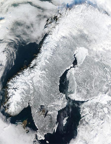 Satellite image of Scandinavia.