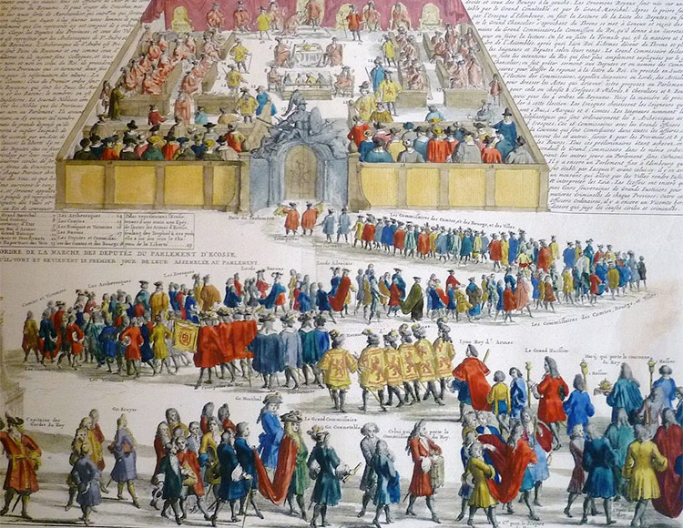 18th-century French illustration of an opening of the Scottish Parliament