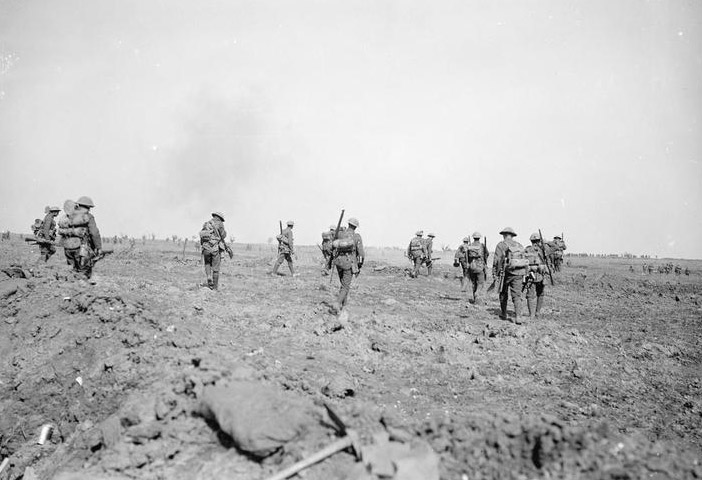 British troops moving up to the attack during the Battle of Morval, 25 September 1916