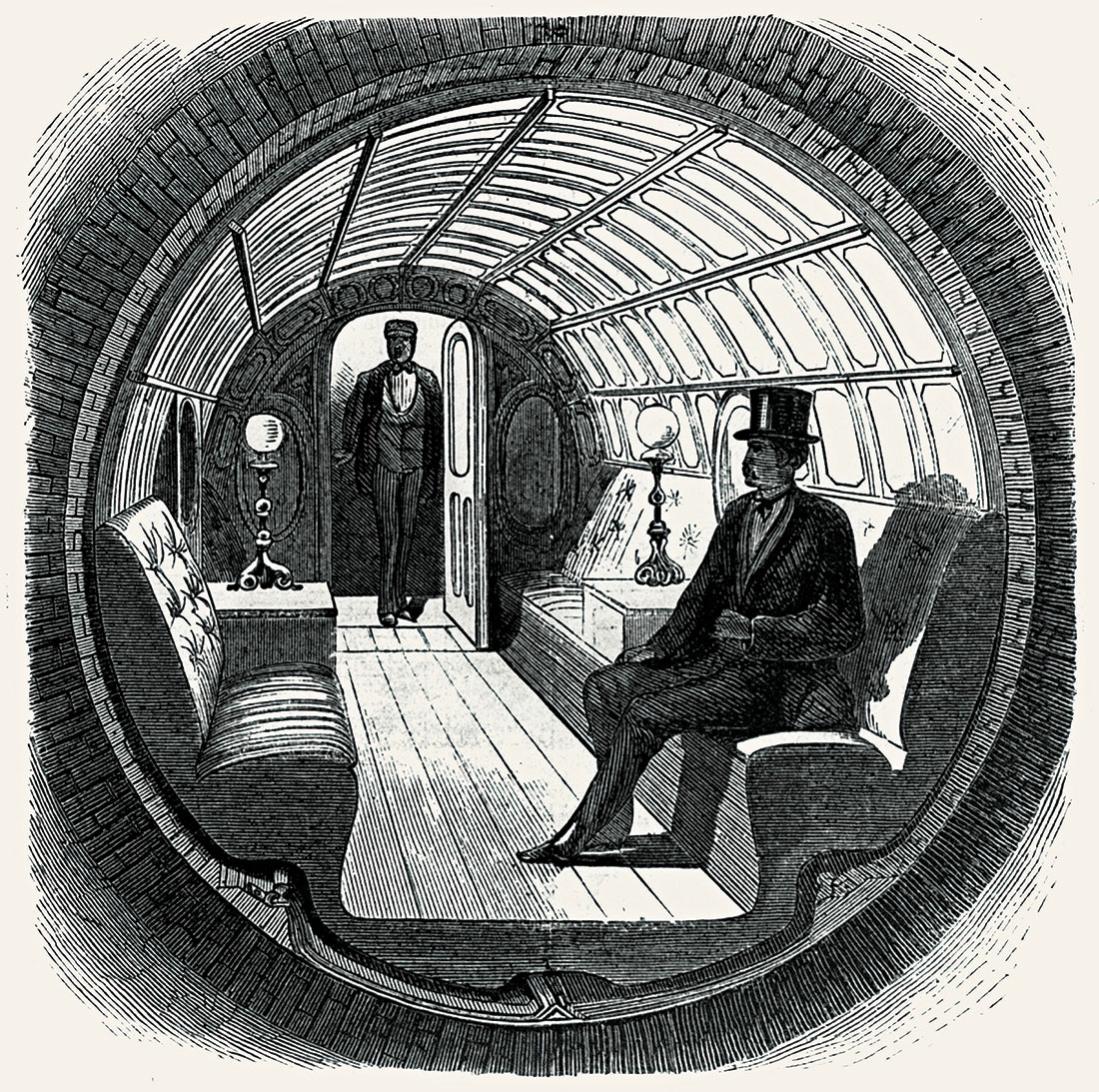 Interior of the passenger car used in Alfred Beach's subway, 1870.