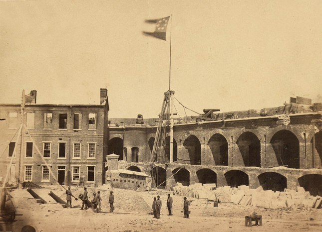 Fort Sumter, 1861, flying the Confederate flag