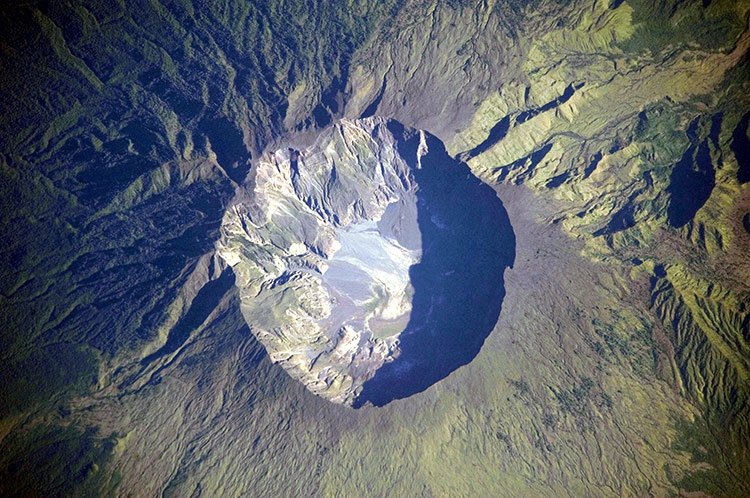 Destructive legacy: a NASA photograph of the huge caldera formed when Mount Tambora erupted in 1815.