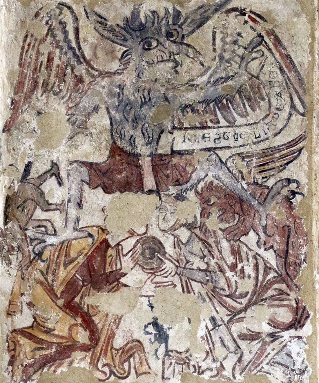 Word up: the demon Titivillus, medieval wall painting, St Mary, Melbourne, Derbyshire.