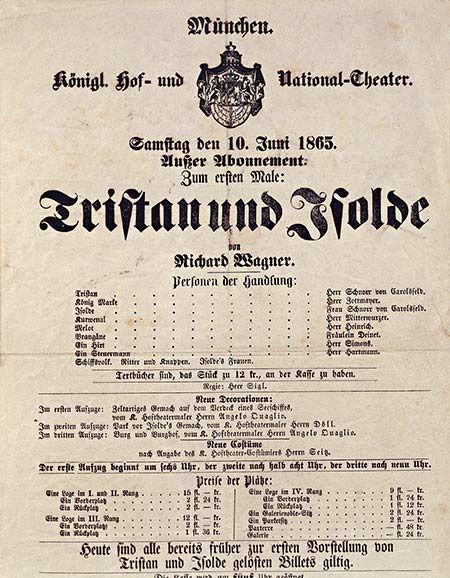 Gesamtkunstwerk: playbill for Tristan und Isolde at the National Theatre, Munich.