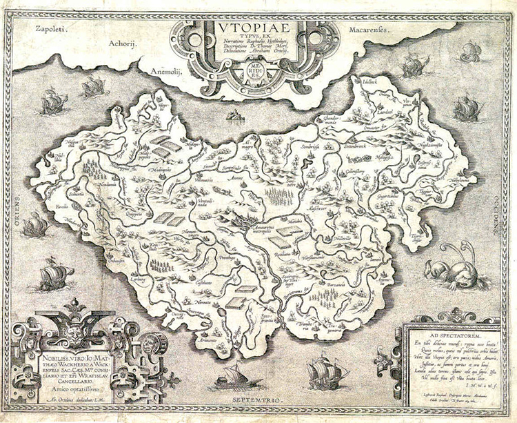 Map of Utopia by Ortelius, ca. 1595