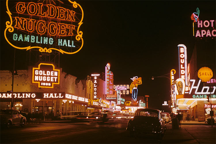 Golden Nugget and Pioneer Club along Fremont Street (1952).