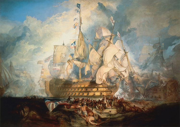 The Battle of Trafalgar, a composite of several moments during the battle, by J. M. W. Turner.