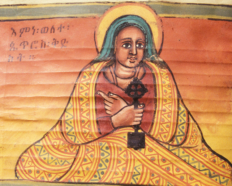Portrait of Walatta Petros, 18th-century manuscript, Ethiopia