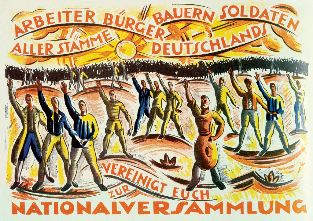 'Workers, Citizens, Farmers, Soldiers of all Classes of Germany, Unite in the National Assembly', poster by Cesar Klein for the elections of January 1919.
