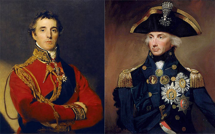 The Duke of Wellington, by Sir Thomas Lawrence (1814), and Lemuel Francis Abbott's portrait of Lord Nelson.