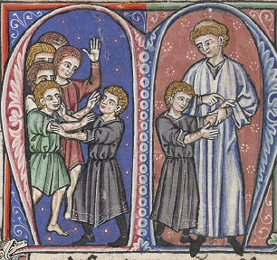 William of Tyre discovers Baldwin's first symptoms of leprosy (MS of L'Estoire d'Eracles (French translation of William of Tyre's Historia), painted in France, 1250s.