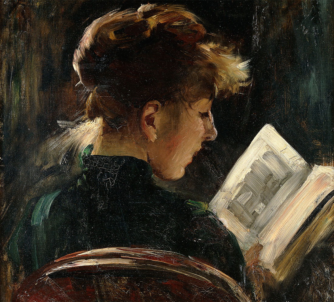 Impartial reviewer: Woman Reading, by Lovis Corinth, 1888.